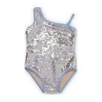 Flippable Sequins One Shoulder Swimsuit, Periwinkle & Silver