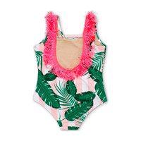 Pink Cabana Botanical Scoop Swimsuit with Fringe