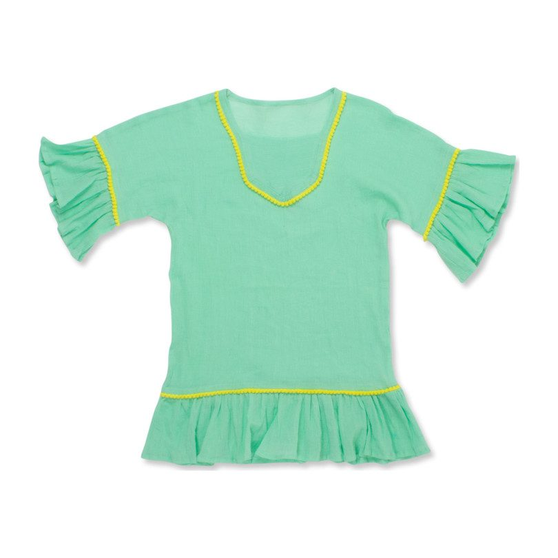 Bell Sleeve Gauze Coverup, Mint Green