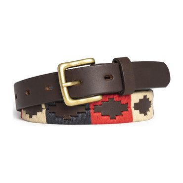 Mens Americano Polo Belt, Red, Navy, & Wheat