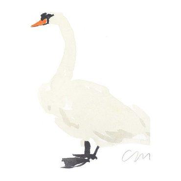 """Swan Original Watercolor, 8"""" x 10"""""""