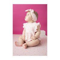 Baby Bunnies Apron Ruffle Sunsuit, Pink