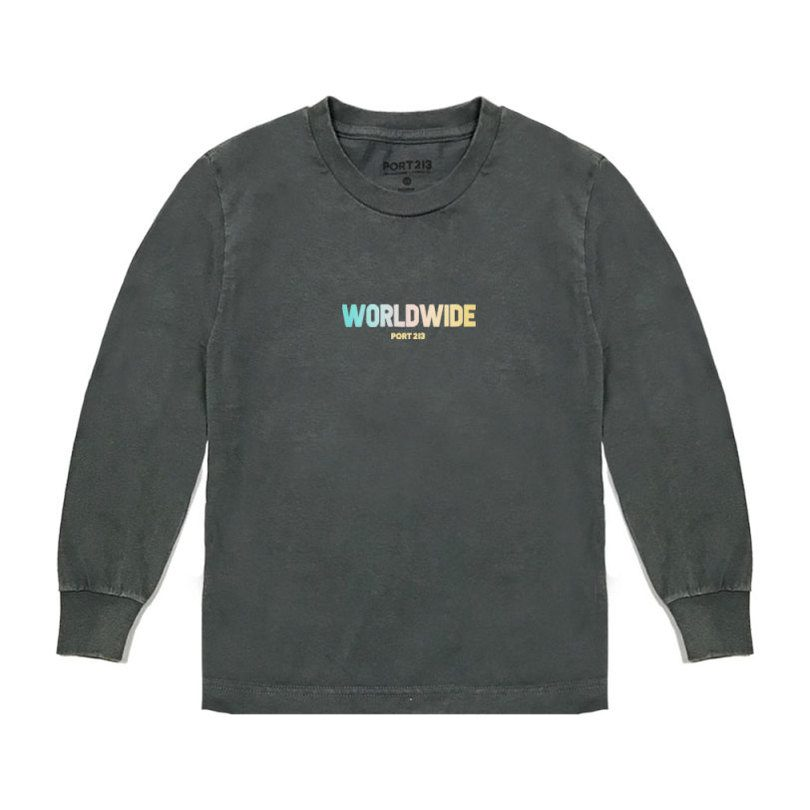 Worldwide Long Sleeve Tee, Vintage Black