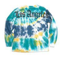 Los Angeles Long Sleeve Tee, Blue Tie-Dye