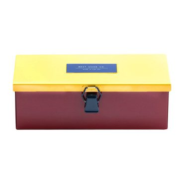 "The 9"" Multicolored Strongbox, Red"