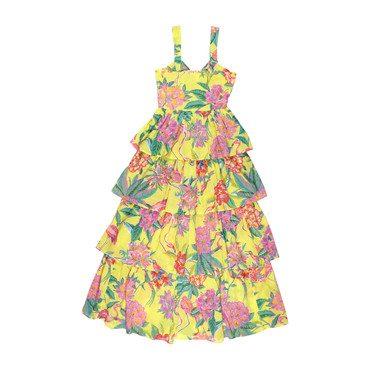 Adult Aster Dress, Blazing Yellow Flamingo