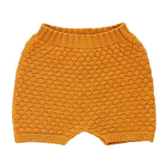 Oeuf Baby And Child Honeycomb Knitted Shorts Ochre Yellow