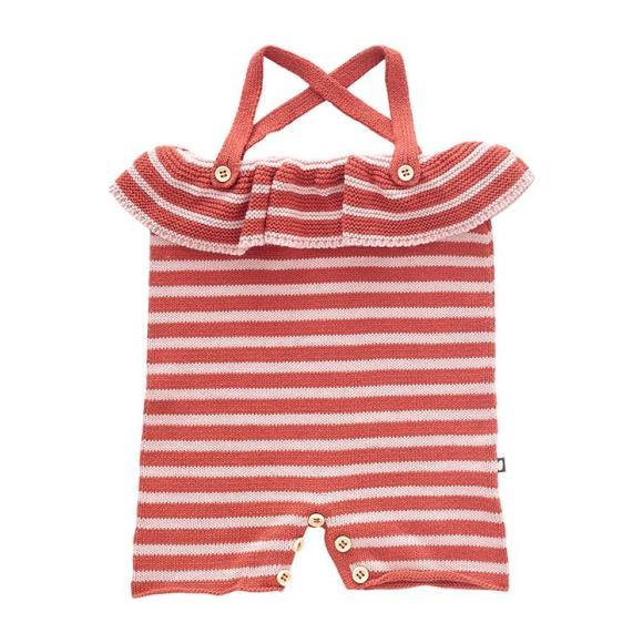 Oeuf Baby Ruffle Knitted Romper With Rust Pink And Light Pink Stripes