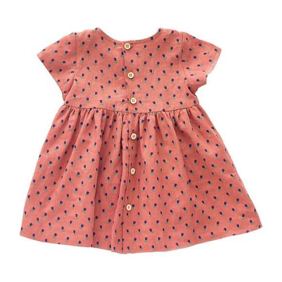 Oeuf Baby And Child Short Sleeved Dress Rust Pink With Tulip Print
