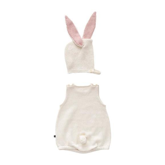 Oeuf Baby Two Piece Set Romper With Bunny Hat White