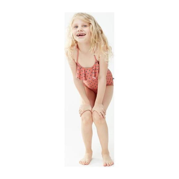 Oeuf Baby And Child Halter Swimsuit With Ruffle Rust Pink With Tulip Print