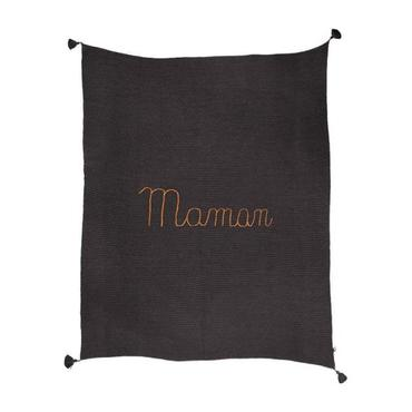Oeuf Embroidered Maman Blanket Fig Grey