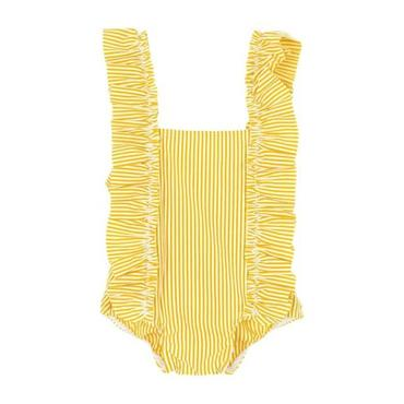 Petit Bateau Baby One Piece Swimsuit With Ruffles Yellow And White Stripes
