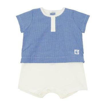 Petit Bateau Baby Romper With T-shirt Overlay Blue And White Checks