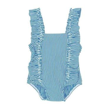Petit Bateau Baby One Piece Swimsuit With Ruffles Blue And White Stripes