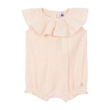 Petit Bateau Baby Seersucker Romper With Ruffle Collar Pink And White Stripes