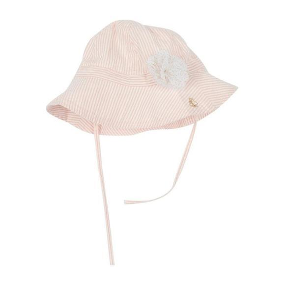 Petit Bateau Baby Seersucker Summer Hat Pink And White Stripes