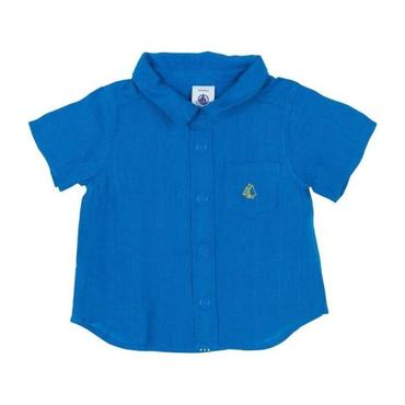 Petit Bateau Baby Short Sleeved Linen Shirt Deep Blue