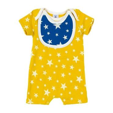 Petit Bateau Baby Short Sleeved Romper With Attached Blue Bib Yellow With White Star Print