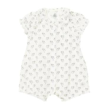 Petit Bateau Baby Short Sleeved Romper White With Floral Print