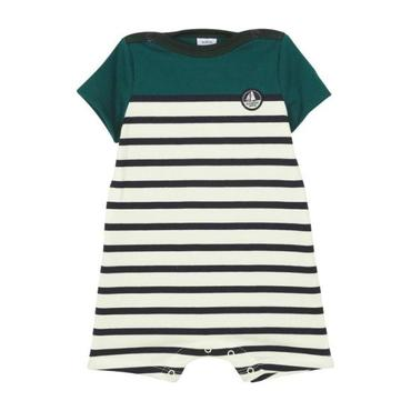 Petit Bateau Baby Short Sleeved Romper With Green Yoke Black And White Stripes