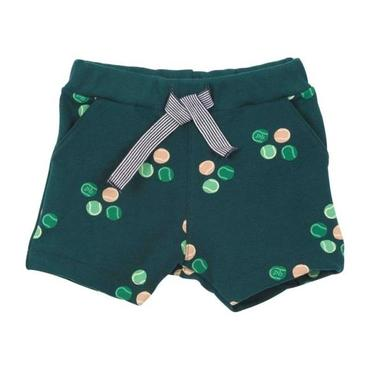Petit Bateau Baby Shorts Pine Green With Tennis Ball Print