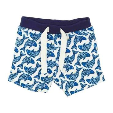 Petit Bateau Baby Shorts White With Blue Fish Print