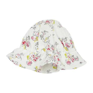 Petit Bateau Baby Summer Hat White With Pink Floral Print