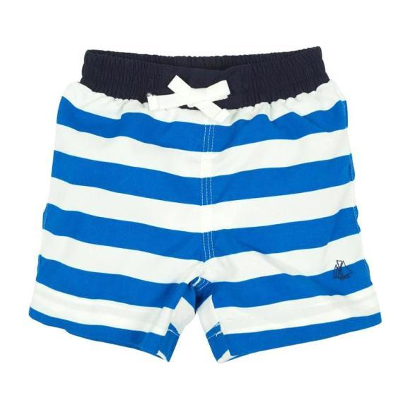 Petit Bateau Baby Swim Shorts Blue And White Stripes
