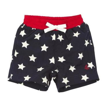 Petit Bateau Baby Swim Shorts With Red Trim Navy Blue With White Star Print