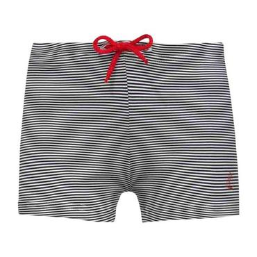 Petit Bateau Baby Swimsuit Shorts With Red Tie Navy Blue And White Stripes