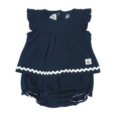 Petit Bateau Baby Two Piece Set Short Sleeved Shirt With White Trim And Bloomers Navy Blue