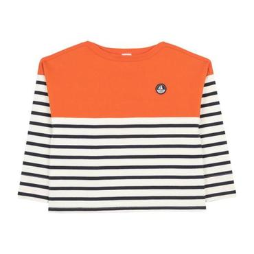 Petit Bateau Child Long Sleeved T-shirt With Orange Trim Navy Blue And White Stripes