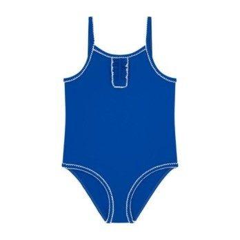 Petit Bateau Child One Piece Swimsuit With Picot Trim Deep Blue