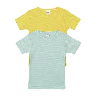 Petit Bateau Child Set Of Two Striped T-shirts Teal Blue And Mustard Yellow