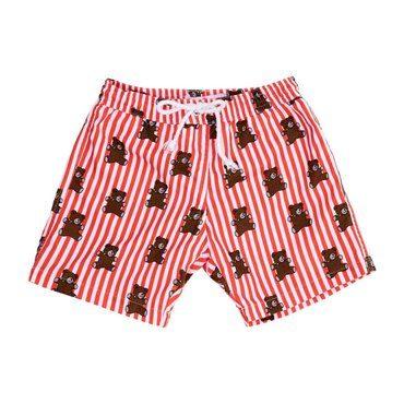 Mason Red Stripes and Brears Swim Trunks