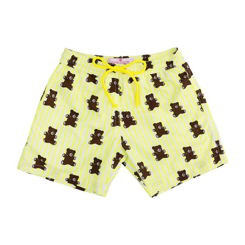 Mason Yellow Stripes and Brears Swim Trunks