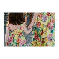 *Exclusive* Aster Dress, Blazing Yellow Flamingo
