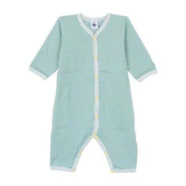 Petit Bateau Baby Pyjamas White And Teal Blue Stripes