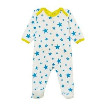 Petit Bateau Baby Pyjamas With Feet Blue With White Star Print
