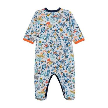 Petit Bateau Baby Pyjamas With Feet Grey With Jungle Print