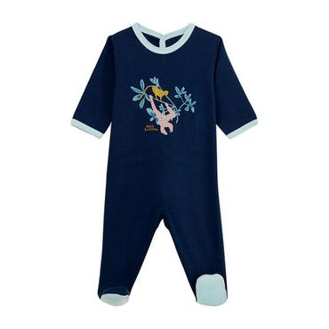 Petit Bateau Baby Pyjamas With Feet Navy Blue With Orangutan Print