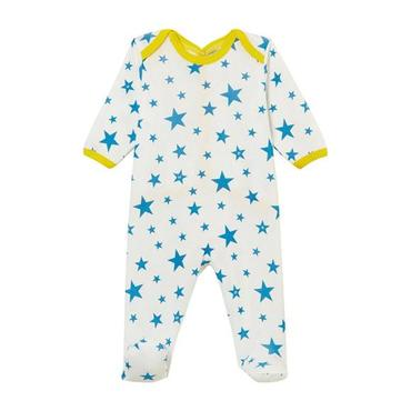 Petit Bateau Baby Pyjamas With Feet White With Blue Star Print And Yellow Trim
