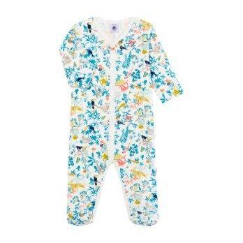 Petit Bateau Baby Pyjamas With Feet White With Jungle Print