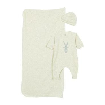 Petit Bateau Baby Three Piece Box Set Pyjamas With Feet, Blanket And Hat Grey With Striped Rabbit