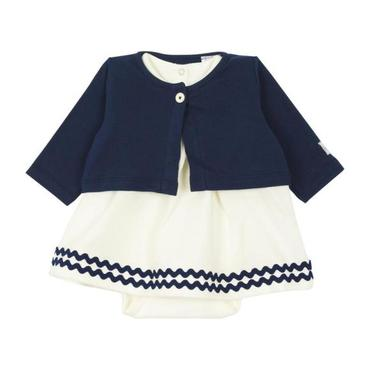 Petit Bateau Baby Two Piece Set Short Sleeved Dress With Attached Bodysuit And Cardigan Navy Blue