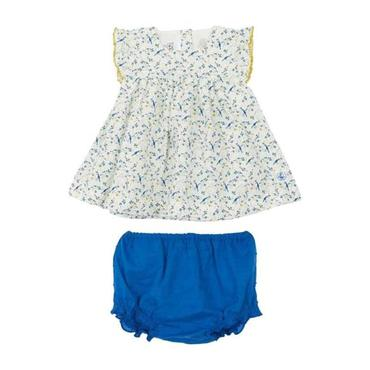 Petit Bateau Baby Two Piece Set Short Sleeved Dress With Bloomers White With Blue Bird Print