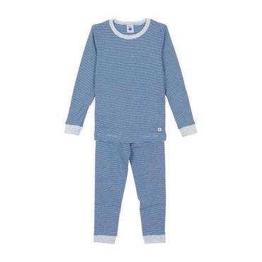 Petit Bateau Child Pyjamas Blue And Grey Stripes