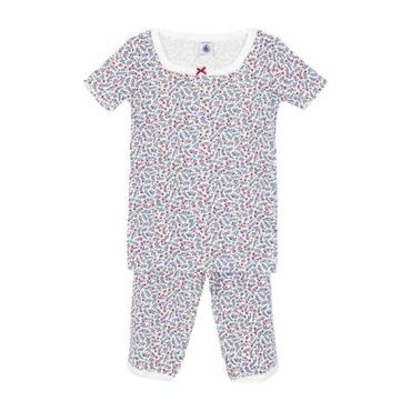 Petit Bateau Child Pyjamas White With Blue And Red Floral Print