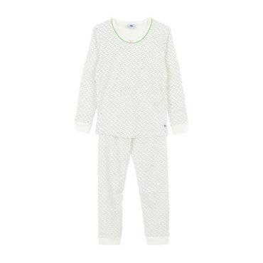 Petit Bateau Child Pyjamas White With Green, Pink And Navy Blue Dot Print